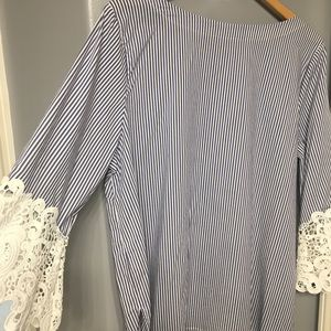 Eloquii Tops - Eloquii pinstripe lace-sleeve top